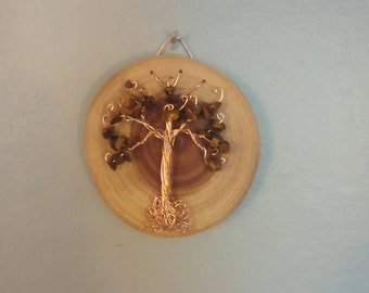 Small Tiger's Eye Tree of Life Wall Hanging