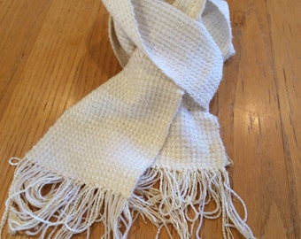 Handwoven white chenille and mohair scarf