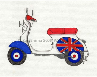 Mod Union Jack Scooter Print - by Zoe Emma Scott