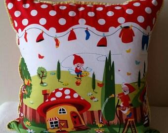 "Cushion cover ""Gnomeville"", children's room decor, nursery decor, Australian handmade"