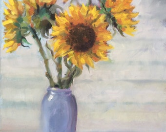 Sunflowers (original oil painting, still life, flowers)
