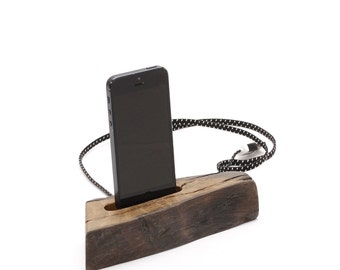 Wooden iphone dock with fabric charging cable 004