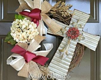 Cross Wreath; Year Round Wreath; Grapevine Cross Wreath