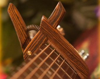 Bocote ~ Wooden Guitar Capo ~ Adjustable Tension ~ WoodenK ~ (Acoustic, Electric, Classical, Banjo & Ukulele)