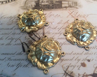 Raw brass rose connectirs 4 pc