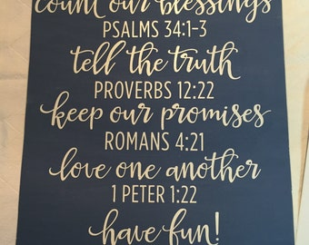 Wood Sign - Family Rules - Bible Verses - 11x16