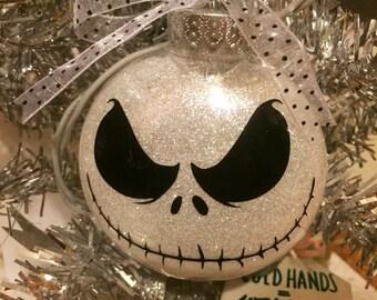 Skeleton Christmas Ornament - Glitter Ornament - Handmade Jack Inspired Ornament - Stocking Stuffer - Funny Christmas Ornament - Custom