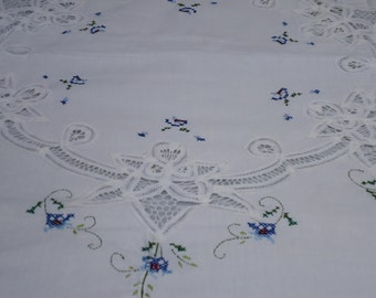 Vintage, Round Battenberg Lace and Embroidered Cross Stich, Paper White, 60 in. Round.,Tablecloth HANDMADE