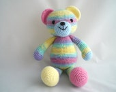 Crochet Teddy Bear / Amigurumi Teddy Bear / Crochet Rainbow Teddy Bear /  Hand Made / Soft and Cuddly Teddy Bear / Crochet Plush Teddy.