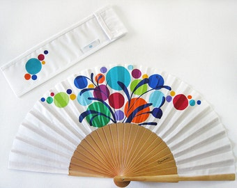 """Spanish hand fan painted with matching sheath """"Party"""""""