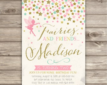 Fairy Birthday Invitations Vintage Pink and Gold Glitter Party First Birthday Woodland Garden Invitation Template Fairy Wand Princess NV2402