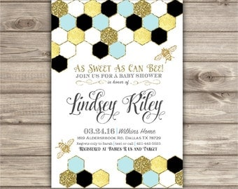 Mom to Bee Baby Shower Invitations blue and Gold Faux Glitter Foil Summer Honey Bee Geometric Invitation Aztec Tribal Bumble printable Bee