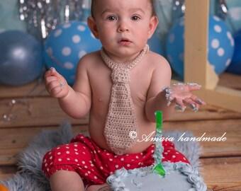 Baby boy necktie, infant boy necktie - crochet baby necktie - made to order