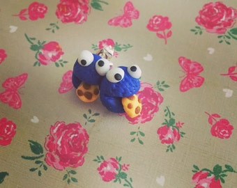 Cookie Monster Polymer Clay Studs