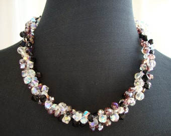 Beautiful collar woven with crystals Czech