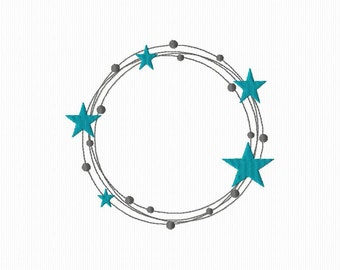 A star frame format 4 x 4 and 5 x 7 embroidery pattern