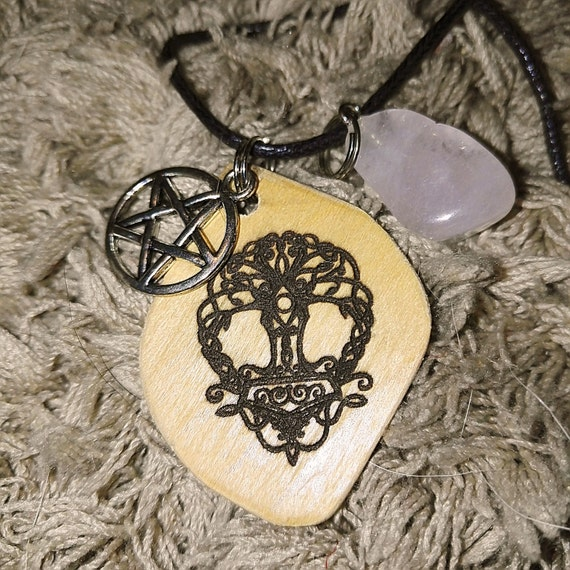 YGGDRASIL Tree of Life pentagram and rose quartz norse viking pagan type 2 DIABETES ALERT id charm necklace #giftsforher