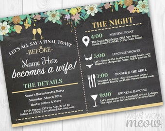 Itinerary Bachelorette Invitations Bridal Shower Invites Party INSTANT DOWNLOAD Schedule Chalk Girls Night Floral Flowers Printable Editable