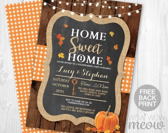 Fall Housewarming Invite New House Invitation Home Sweet Home Couples Party Chalk INSTANT DOWNLOAD Pumpkin Leaf Digital Printable & Editable