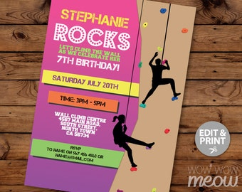 Rock Climbing Invitations Indoor Climbing Wall Invites Birthday Party INSTANT DOWNLOAD Girls Pink Rocks Personalize Customize Edit Printable