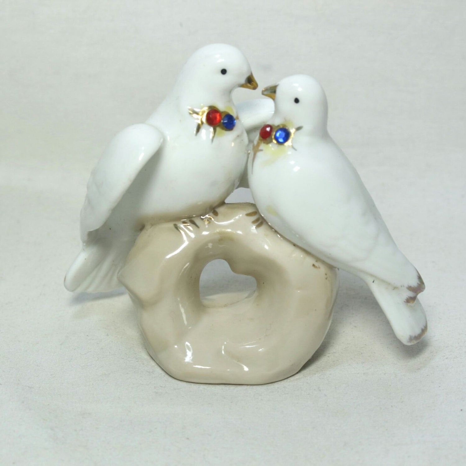 Vintage White Porcelain Bird Figurines Bookshelf Decor White