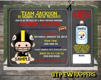 Printable Pittsburgh Steelers Football Baby Shower Invitations Boy and Girl Cheerleader Personalized NFL attached Raffle Ticket