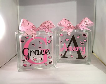 2 - Girls Customized/Personalized Glass Block Money Bank/Piggy Bank (6-inch)