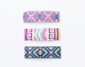 Set of 3 Lined Aztec Snap Hair Clips / Aztec Snap Clips / Printed Snap Clips / Aztec Hair Clips / Toddler Snap Clips / Girls Hair Clips