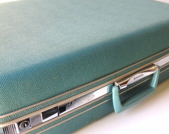 Vintage Samsonite Silhouette Hard Shell Turquoise Teal Suitcase