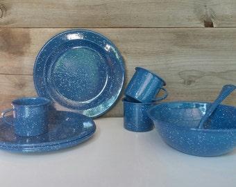 Vintage Blue Speckled Enamelware Set Cups Serving Bowl Serving Spoon Plates