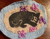 Cat Curled Up Art Patch / fiber art sew on patch