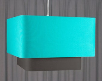 Double square lampshade 'Turquoise/Charcoal 50'