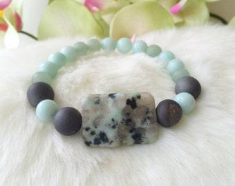Kiwi Sesame Jasper Amazonite Aventurine Silver Druzy Aqua Mint Green Gray Gemstone Stretch Bracelet Focal Bead Boho