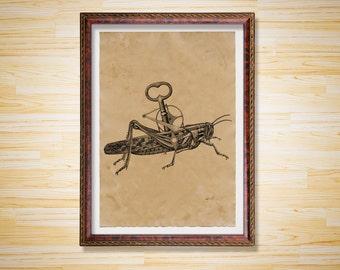 Mechanical grasshopper art print Steampunk animal poster Antique decor
