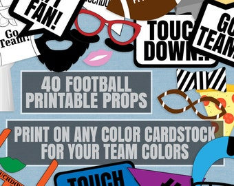 40 Football Printable Any Team Photo Booth Props, American football props, photobooth props, american football team party decor idea