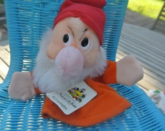 Vintage Disney Snow White Grumpy Dwarf 50th Anniversary Hand Puppet Original Tags
