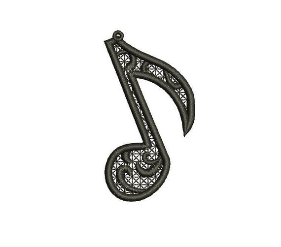 Stand Alone Lace Embroidery Designs : Music note stand alone lace ornament embroidery fsl by inahoop