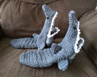 Crochet Shark Slipper Socks