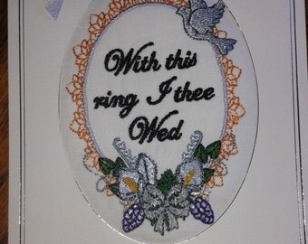 Embroidered & Padded wedding Card Large - Free Post