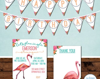 Flamingo Party Package, Flamingo Birthday Party Invite, Let's Flamingle