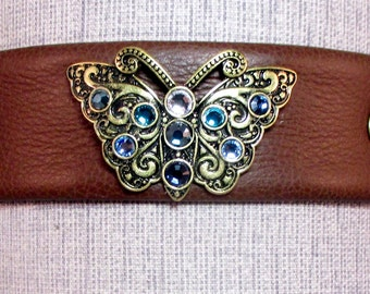 Jewelled Butterfly Dress Collar/Choker - Black Leather