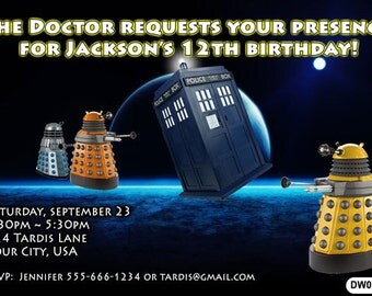 Dr Who Tardis Birthday Party Invitation - 4x6 or 5x7 size - You Print and Save