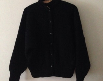 70s Gucci Angora & Wool Cardigan Jacket in Black