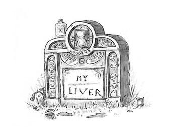 """Grave Plot 3 """"My Liver"""" - 5"""" x 7"""" mini - print"""