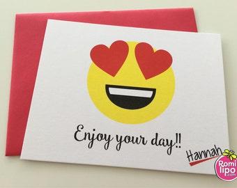 Emoji stationary, Set of 10 note cards with envelopes, personalized, girl stationary, stationery set, note cards, emoji, emoji note cards
