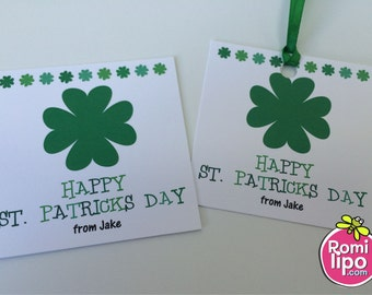 "St. Ptricks day, Set of 24 Personalized 2.5 x2.5x""  Gift Enclosure Stickers or Cards, favor tags, st. Patrick, personalized, gift tags"