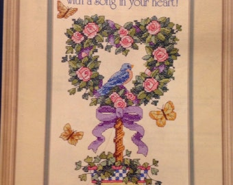 """Sale Sunset counted cross stitch """"A Song in Your Heart"""" 8"""" by 16"""""""