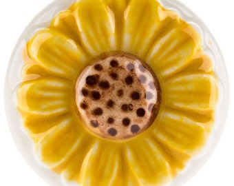 New Set 6 Sunflower Knobs Ceramic Pulls Handle Yellow White