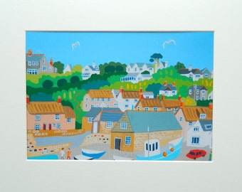 Cadgwith, Cornwall, Unframed Print by Cornish Artist Richard Lodey, Seaside View