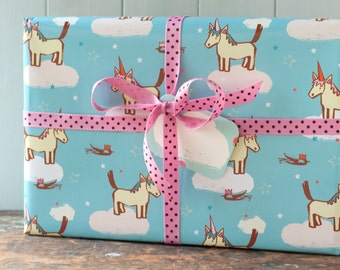 Gift Wrapping Paper, unicorn gift wrap, horse birthday paper, party hat wrapping paper, gift wrap and tag set, for girls or boys